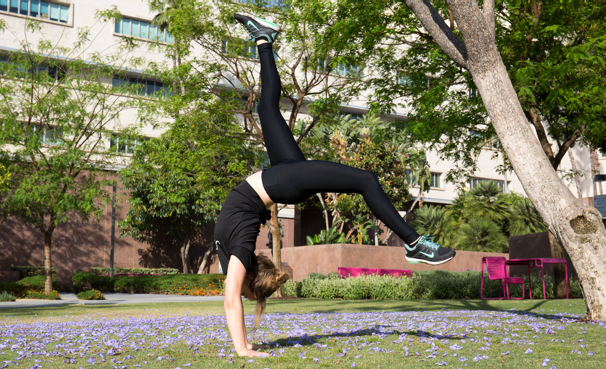 Justine doing a handstand at Grand Park in Downtown Los Angeles, CA