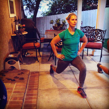 Alyssa doing a lunge exercise at her home in Eagle Rock Los Angeles, CA