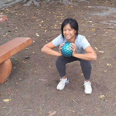 Mary doing a squat at Eagle Rock Rec Center in Eagle Rock Los Angeles, CA