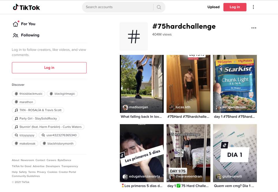 75 hard challenge on tiktok