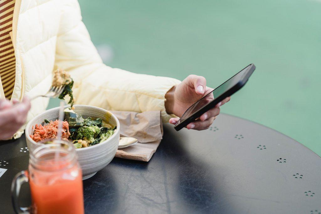 woman eating vegan food